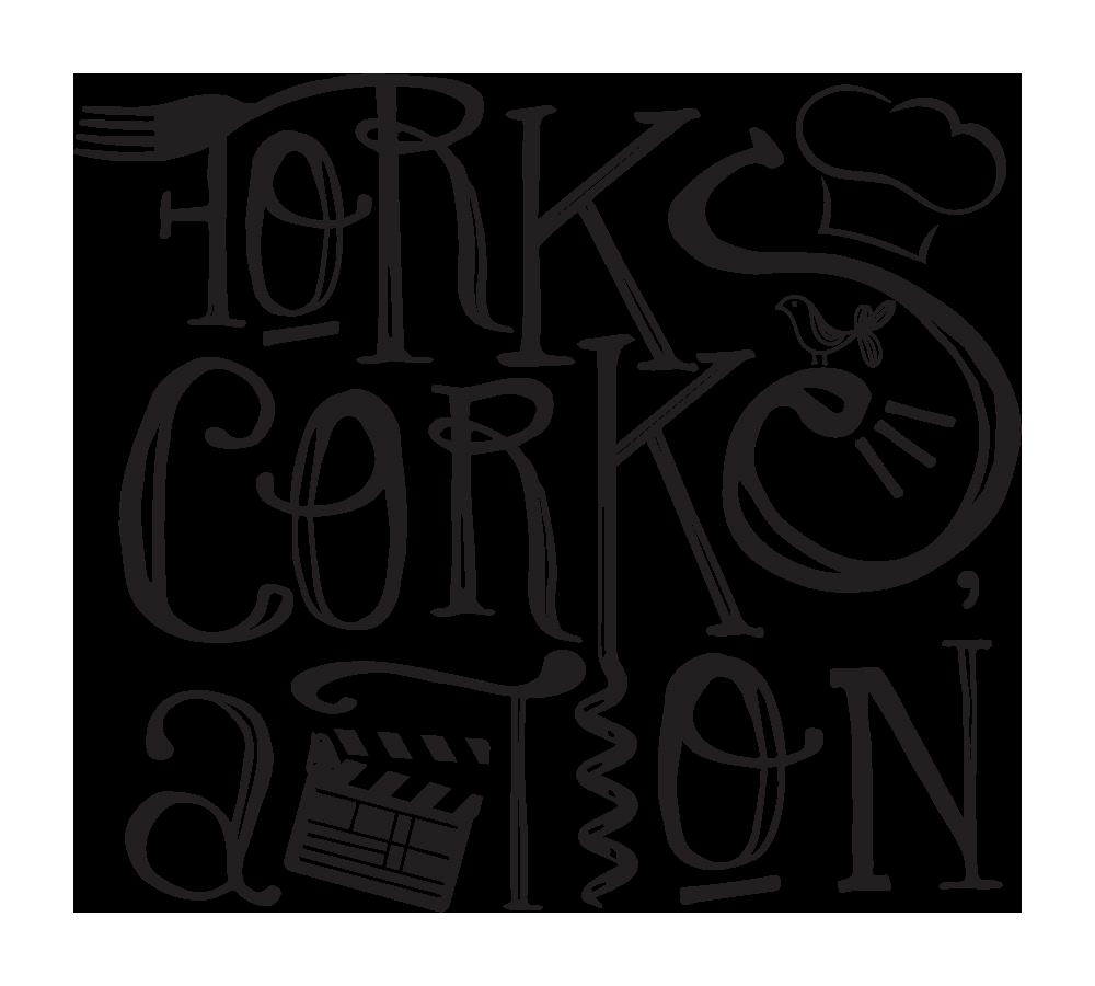 'Forks, Corks, Action!' logo