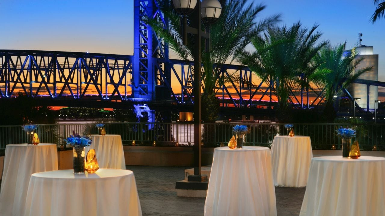 Riverfront wedding reception space in Jacksonville
