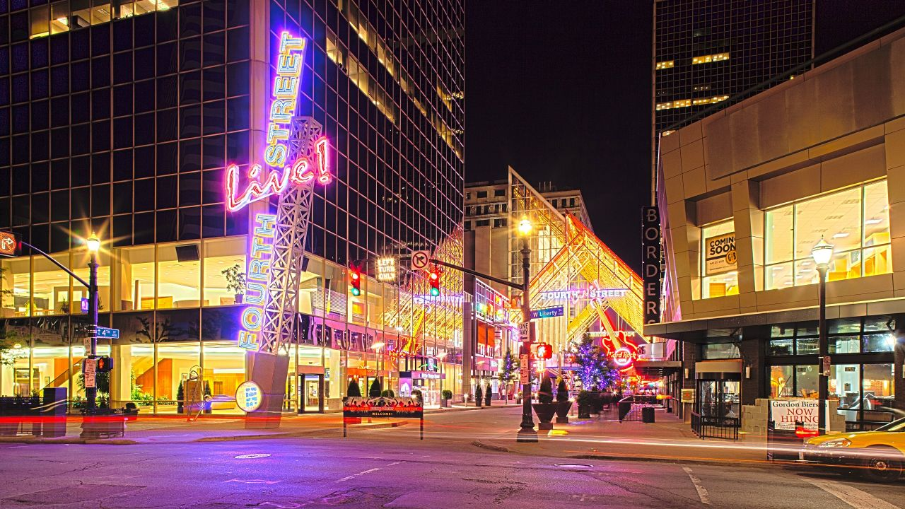 Fourth Street Live Entrance in downtown Louisville at night