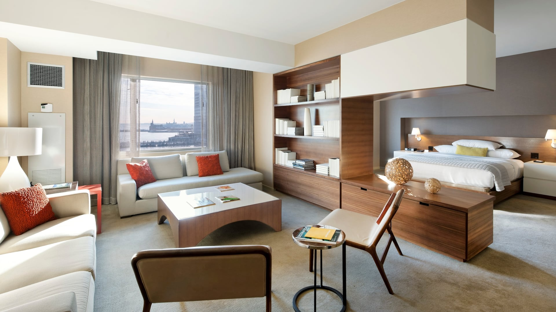 Hotel suite in Jersey City with a waterfront view of the Hudson River