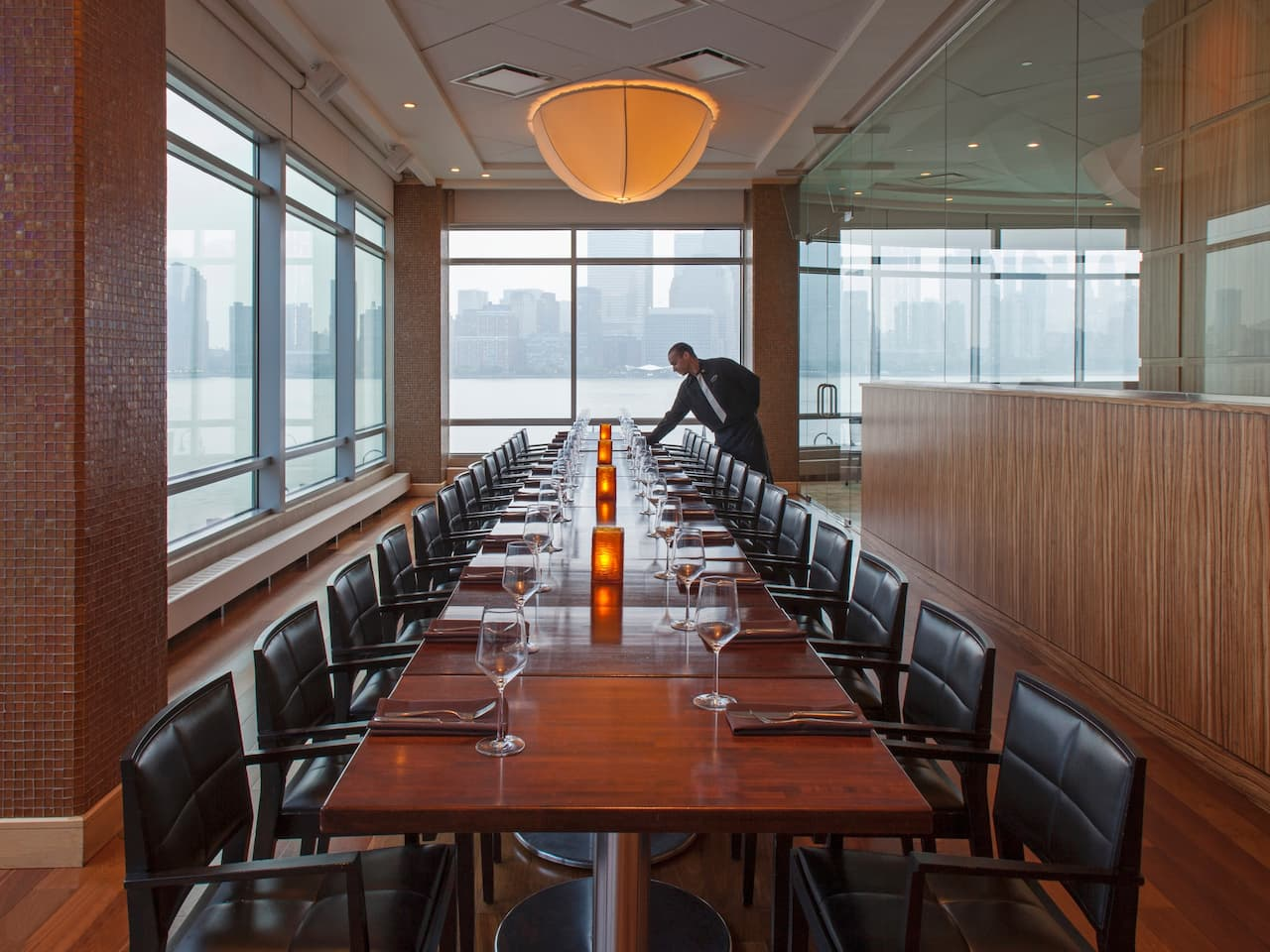 A 32 person private dining room in Jersey City for business meetings or family events