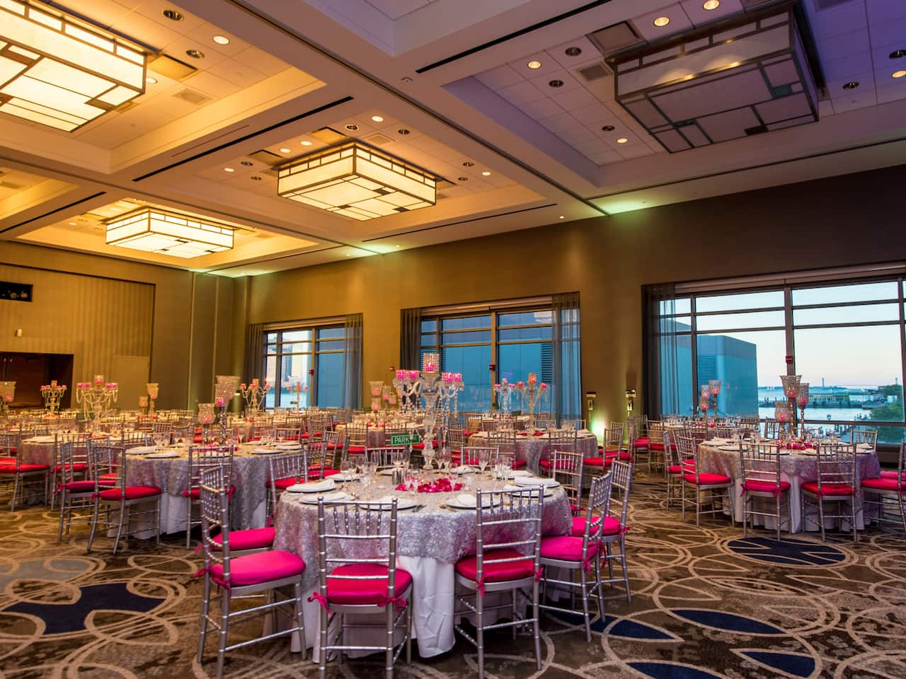 Ballroom set up as a wedding venue at Hyatt Regency Jersey City on the Hudson River