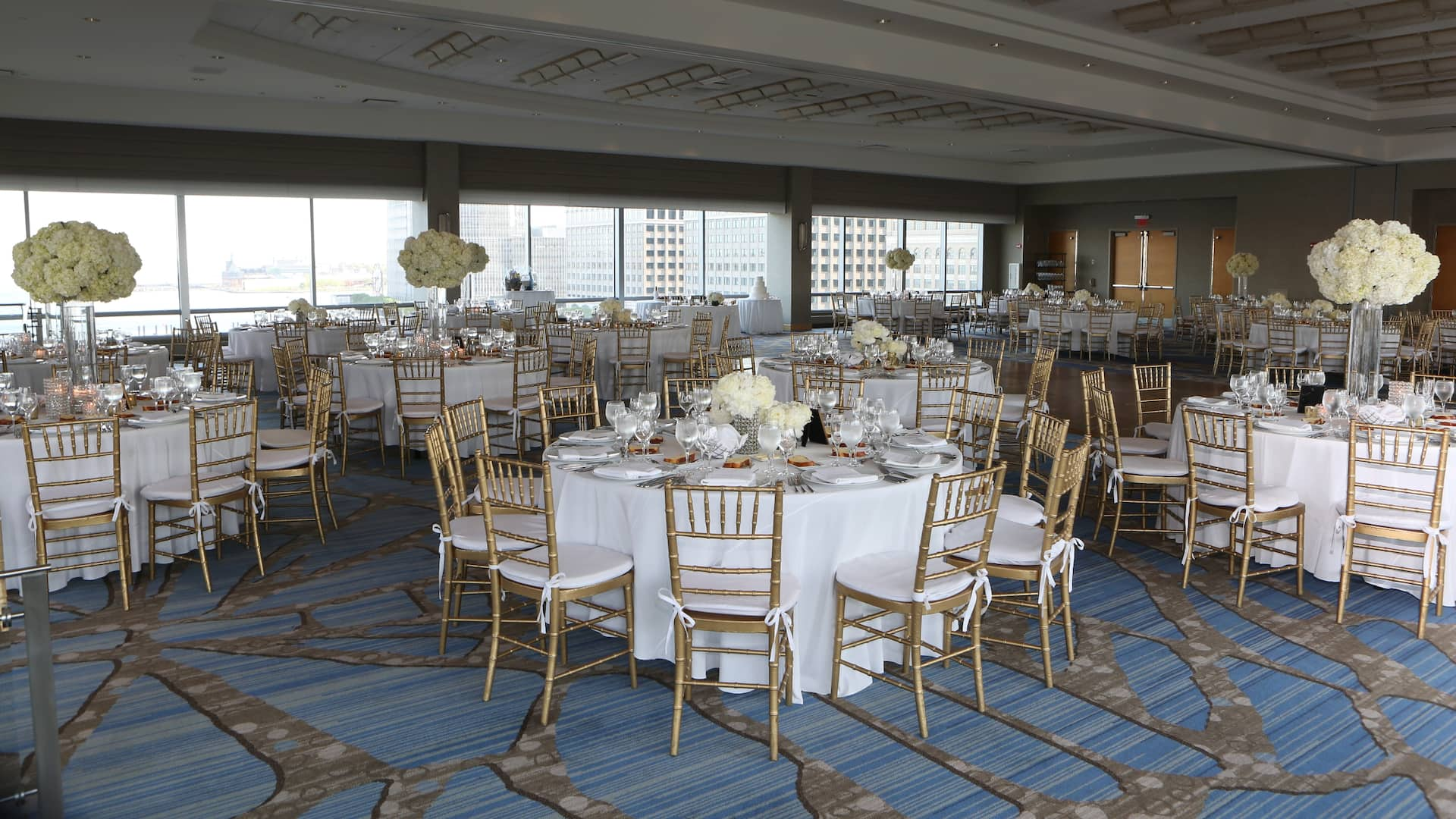 Elegant wedding venue with a view of the Hudson River