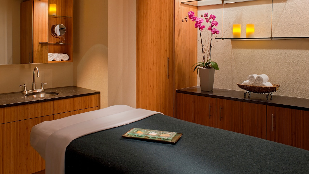 Relaxing treatment room at hotel spa