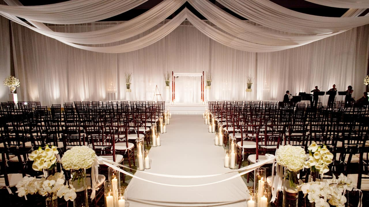 Ballroom beautifully decorated for wedding ceremony