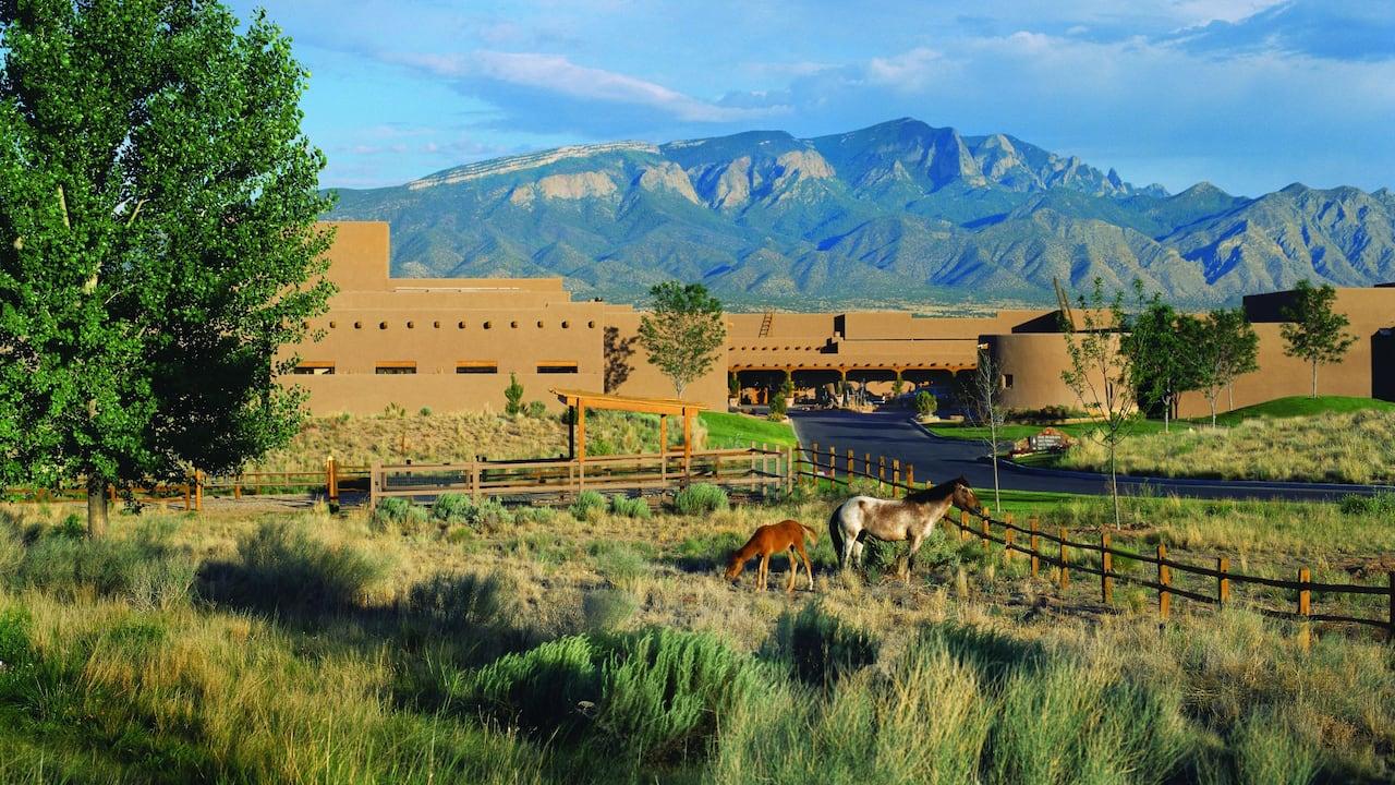 Hyatt Regency Tamaya Resort & Spa Front Exterior with Horses