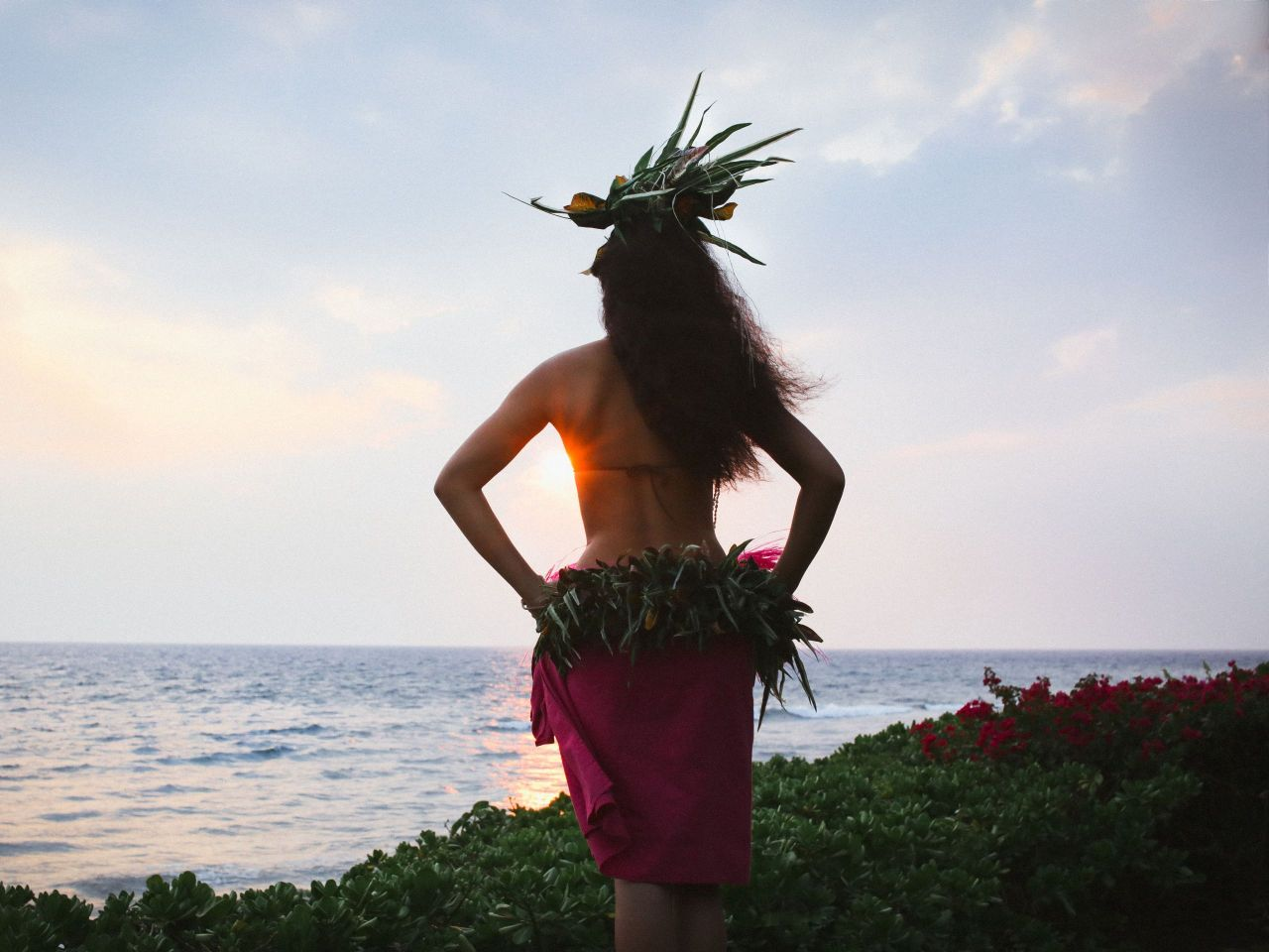Luau Hula Girl Sunset