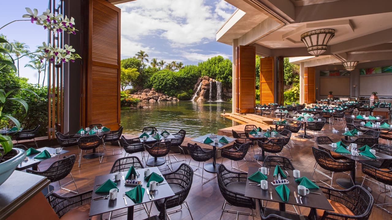 Covered waterfront dining area at Hyatt Regency Maui Resort and Spa