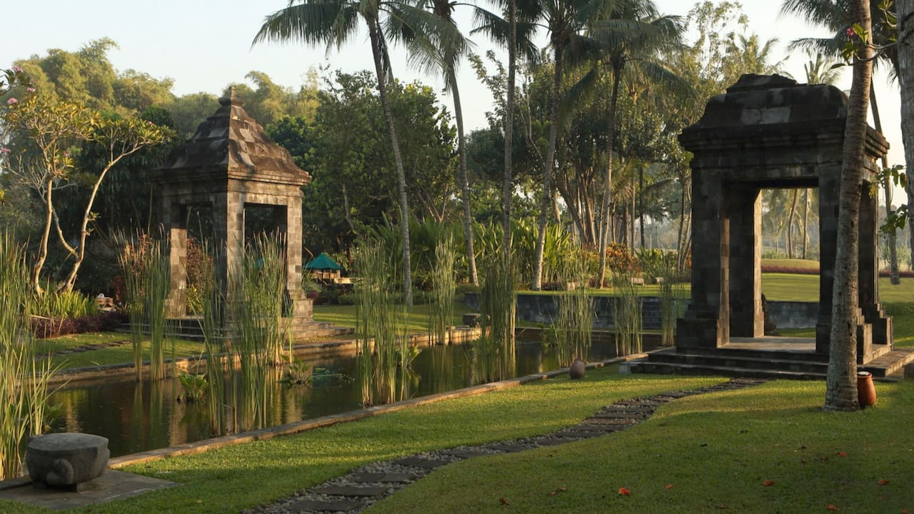 Botanical Garden and Candi Bentar at the Hyatt Regency Hotel Yogyakarta