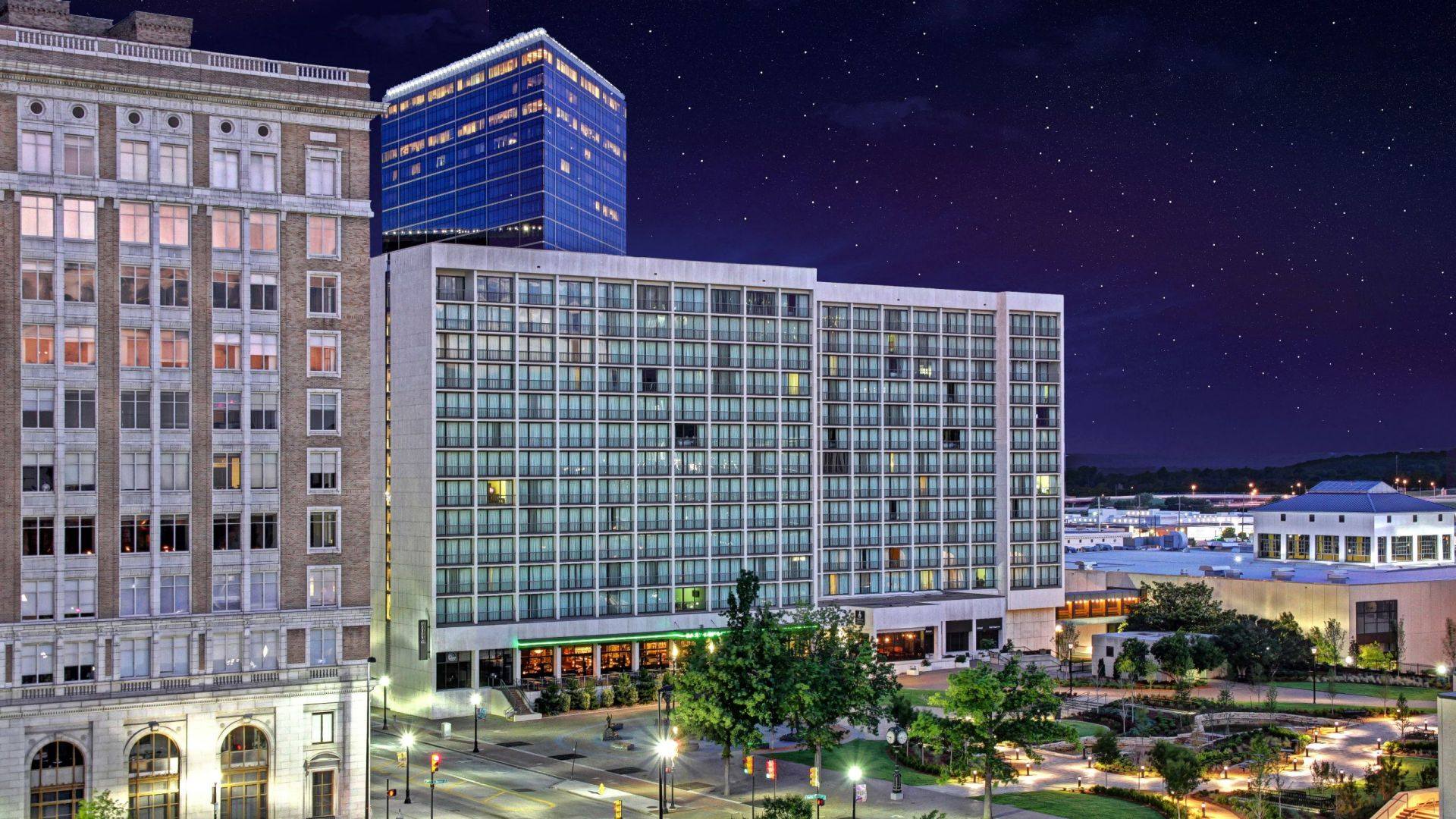 Hyatt Regency Tulsa Exterior at Night