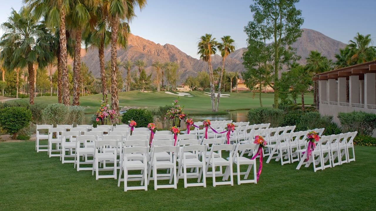 An outdoor wedding ceremony with mountain views in Indian Wells at Hyatt Regency Indian Wells Resort & Spa