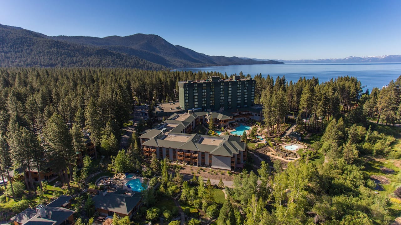 Aerial shot of Hyatt Regency Lake Tahoe Resort, Spa and Casino