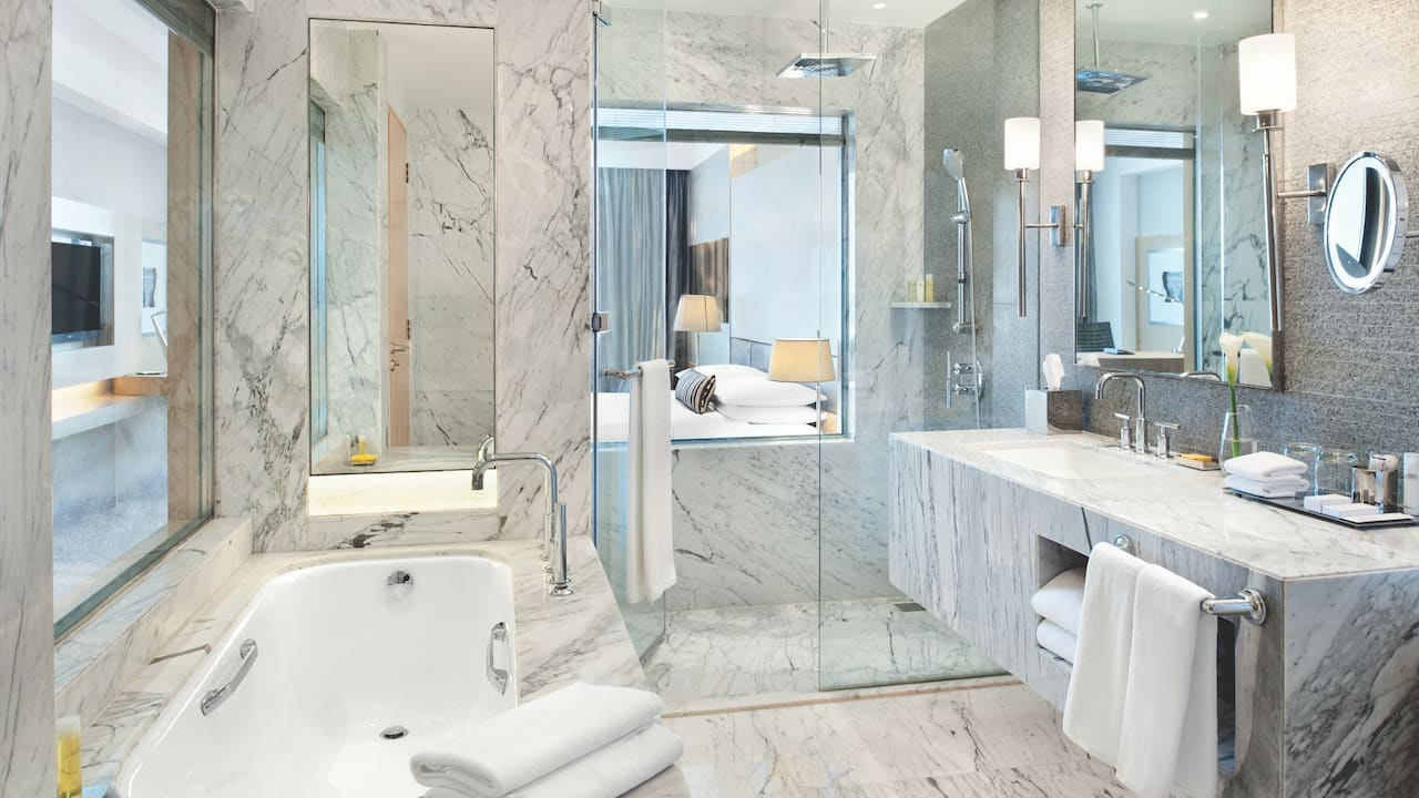 Spa-inspired bathroom with shower, bath, vanity, and luxe towels