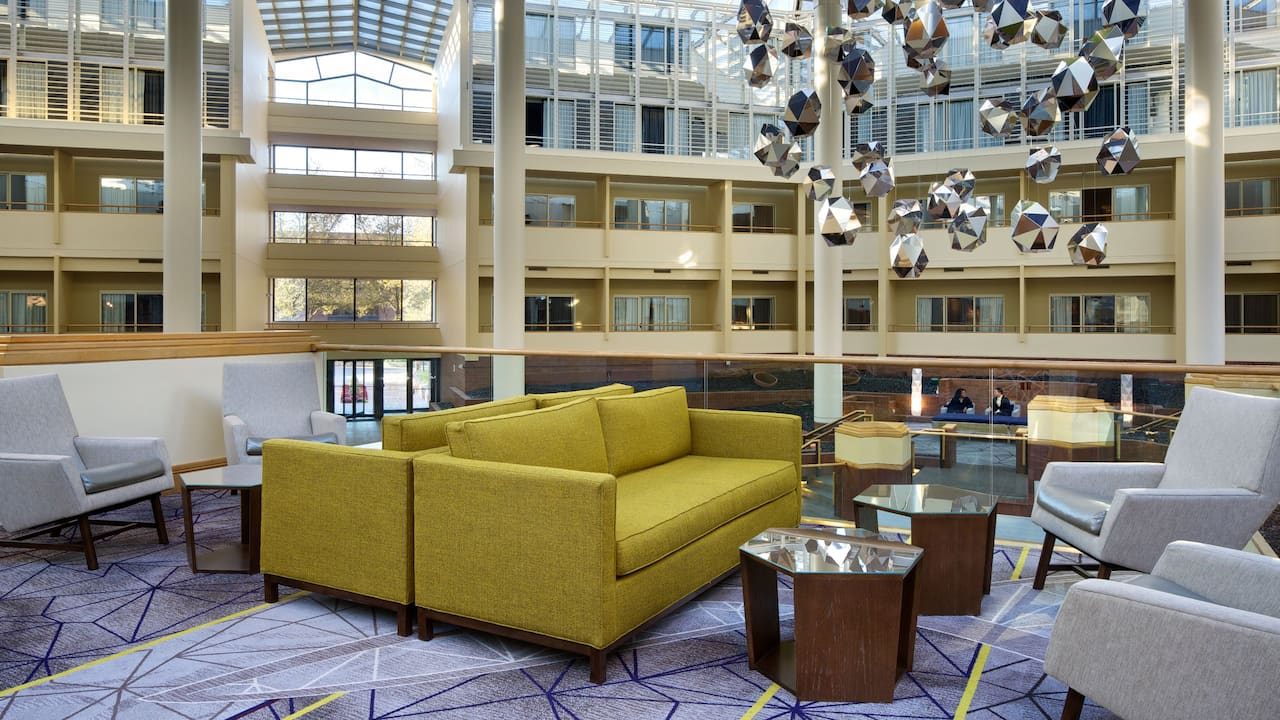Couches and chairs in hotel atrium