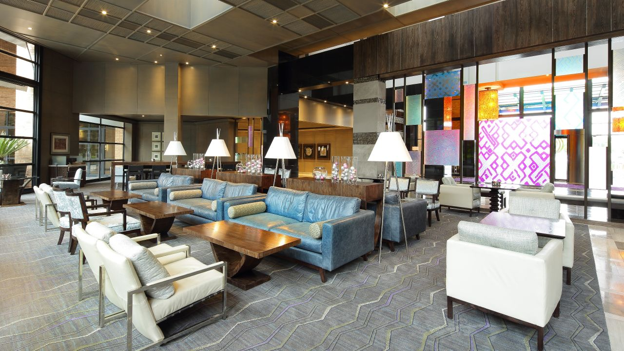 Couches and armchairs in the lobby lounge
