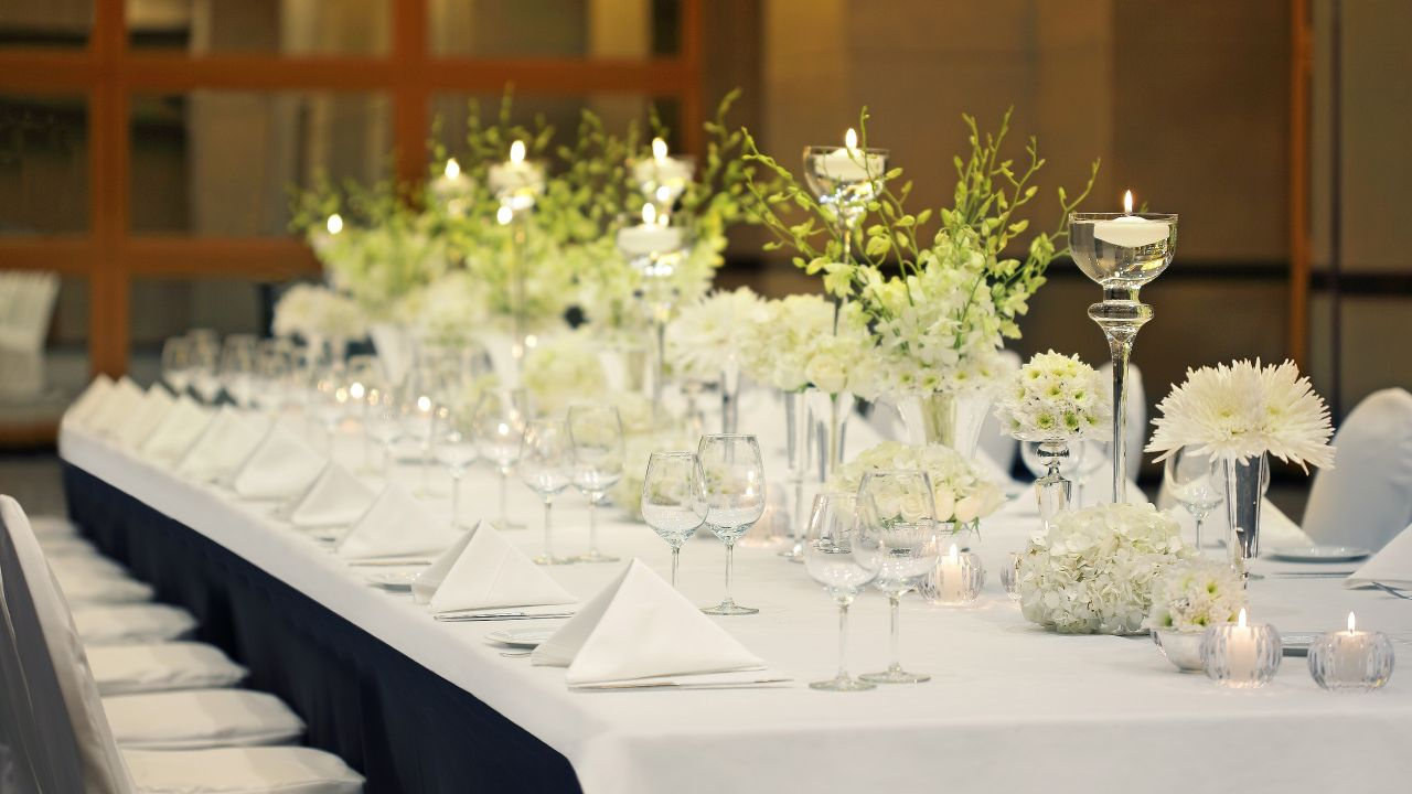 Detail of wedding reception table