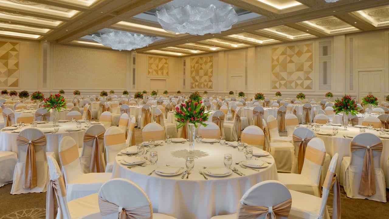 Ballroom set for reception
