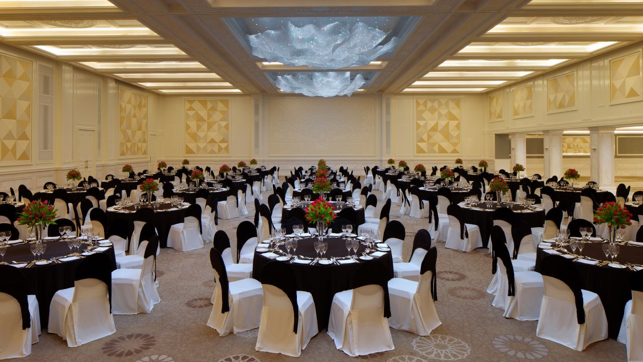 Ballroom prepared for gala