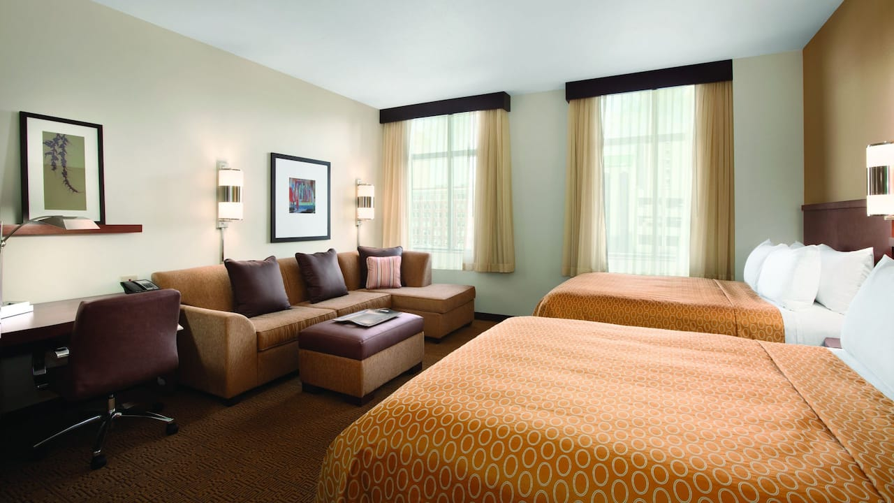 Two Queen Beds with Sofa Bed