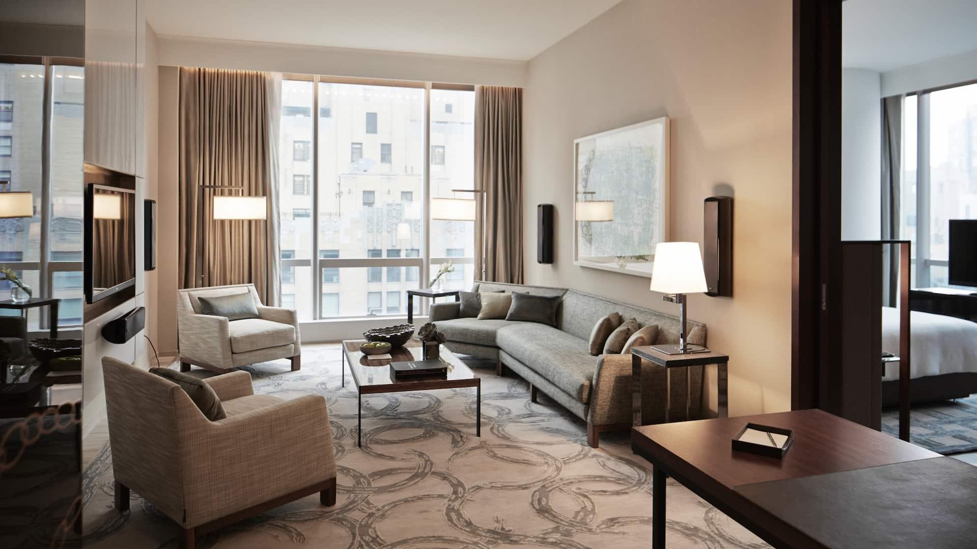 One Bedroom City View Suite Living Room