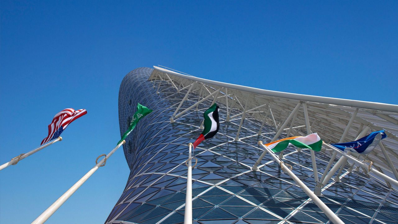 Hyatt Capital Gate Abu Dhabi Exterior with international flags