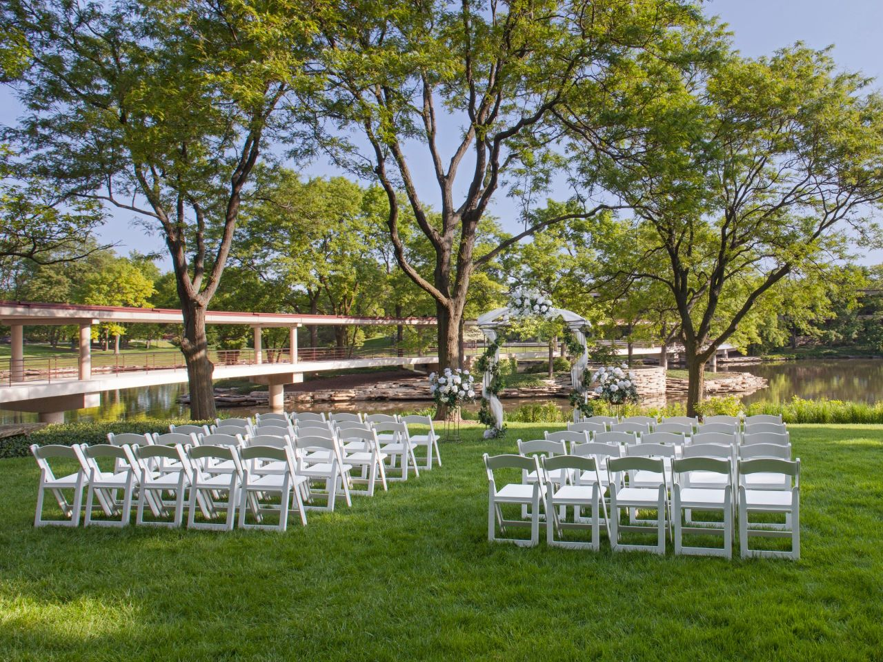 Hyatt Lodge at McDonald's Campus, wedding outdoor ceremony set-up