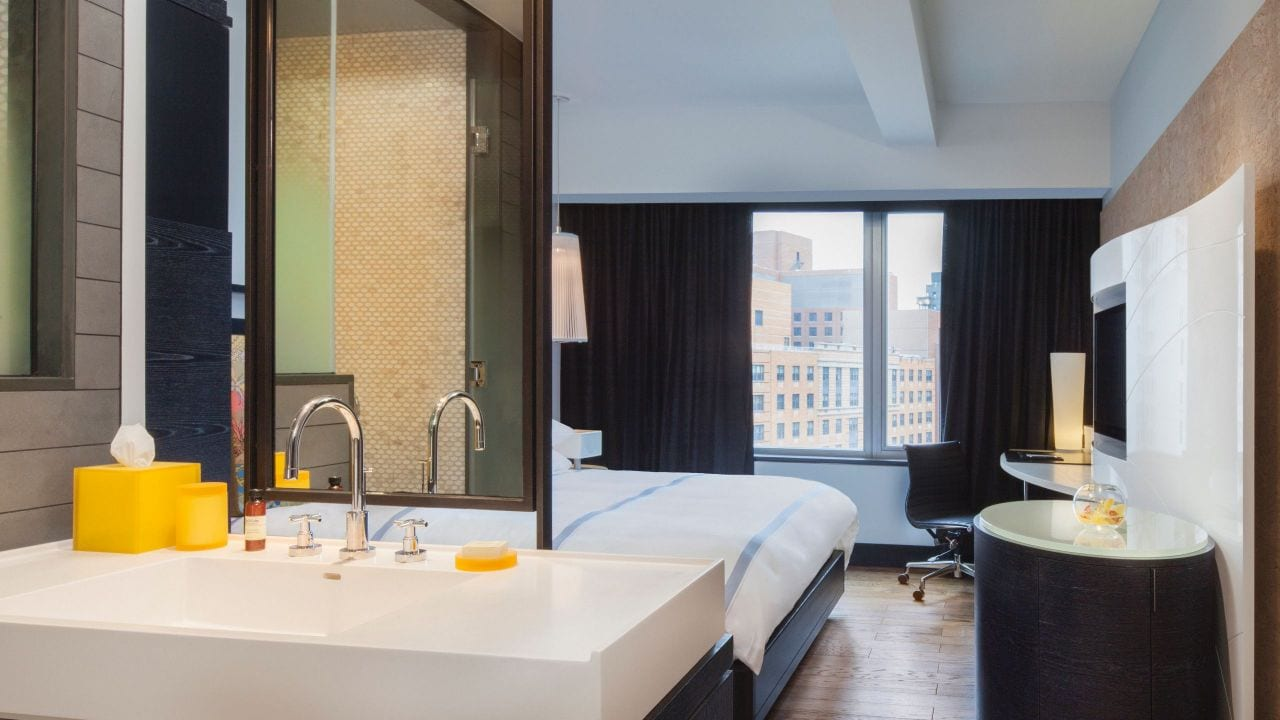 Hyatt Union Square New York Bathroom and Bedroom