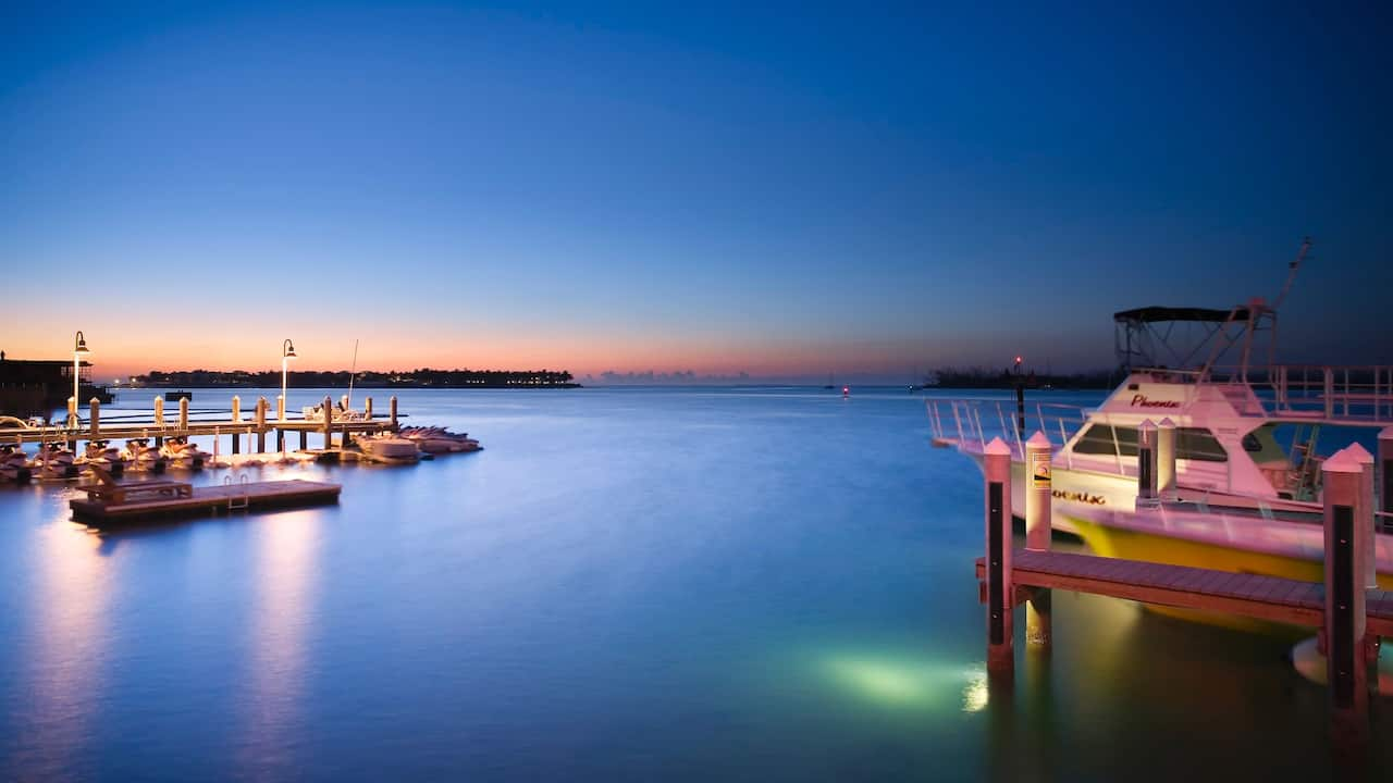 Dock at sunset at Hyatt Centric Key West