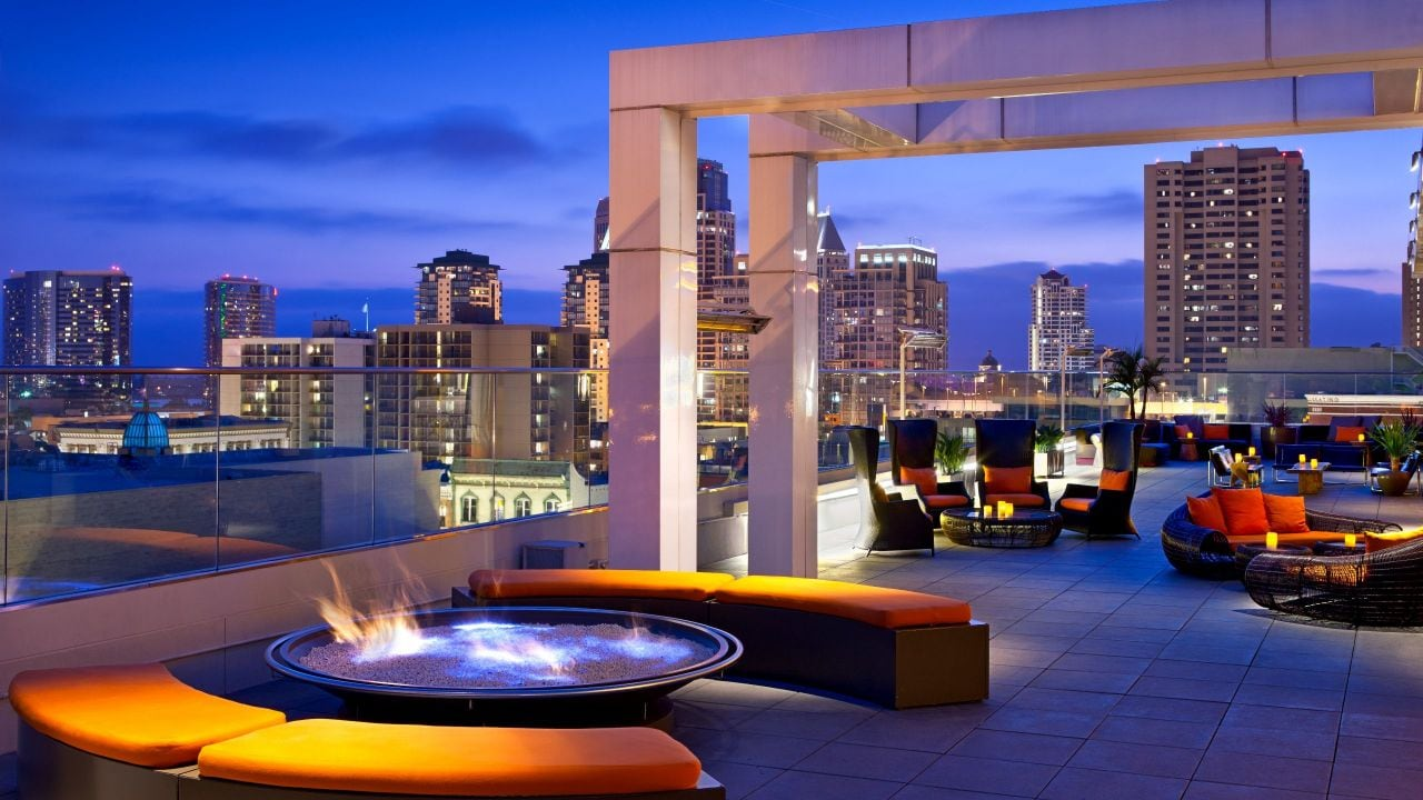 Rooftop dining at Andaz San Diego