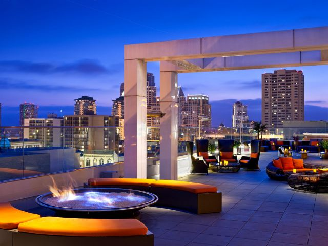 Rooftop firepit at night