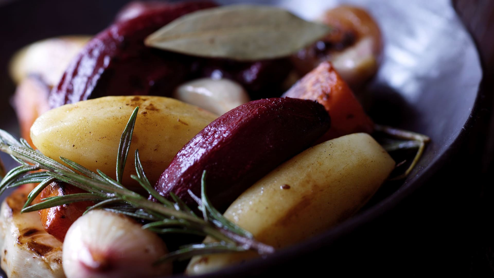 skillet of root vegetables