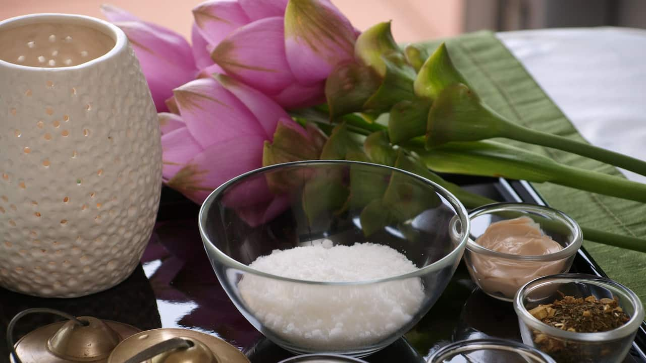Flowers and an assortment of salts and spices at the DASA spa at Hyatt Regency San Antonio Riverwalk