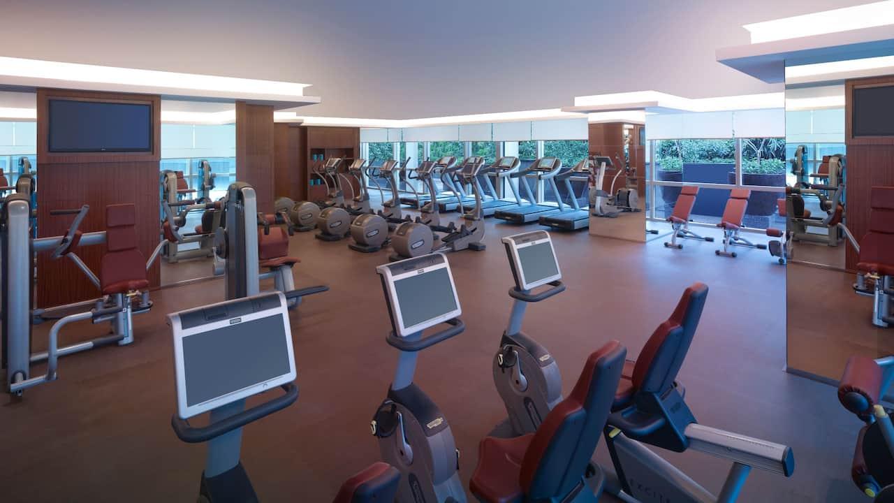 Hotel pool and a fitness center at Grand Hyatt Kuala Lumpur, Malaysia