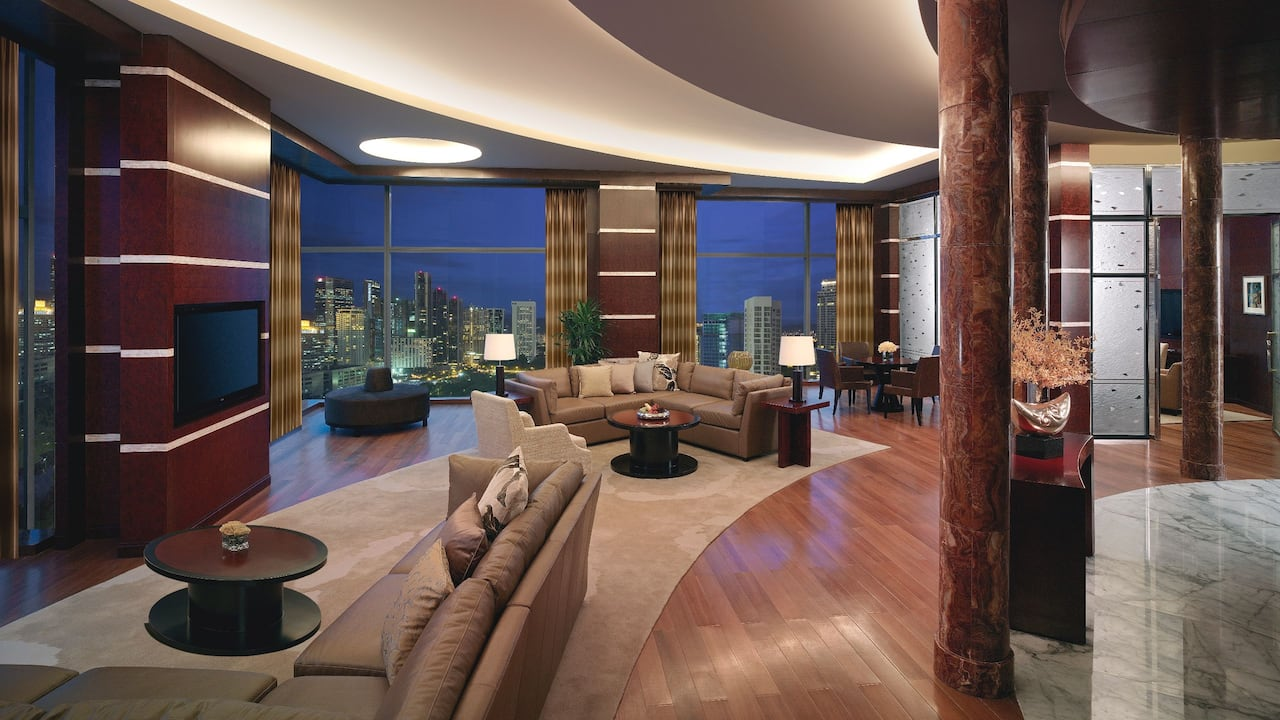 Living Room and Petronas Tower View at Presidential Suite Grand Hyatt Kuala Lumpur