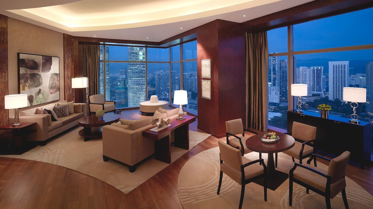Spacious Living Room With Dining Area Diplomat Suite Grand Hyatt Kuala Lumpur