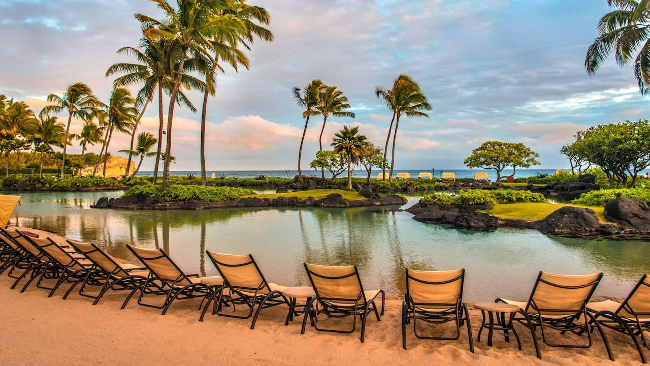 Grand Hyatt Kauai Beachfront Resort Pool Lounge Chairs