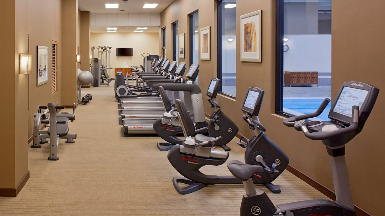 Downtown Denver with gym at Grand Hyatt Denver