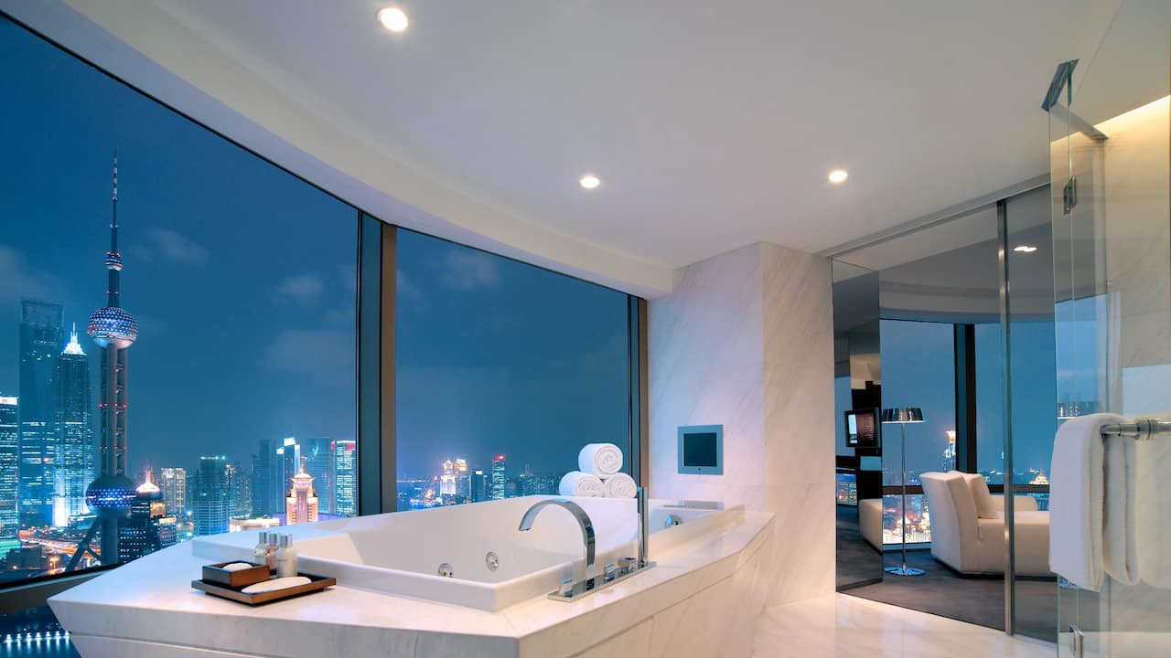 presidential suite bathroom with view
