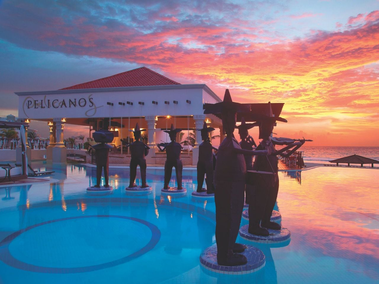 Pool bar at sunset