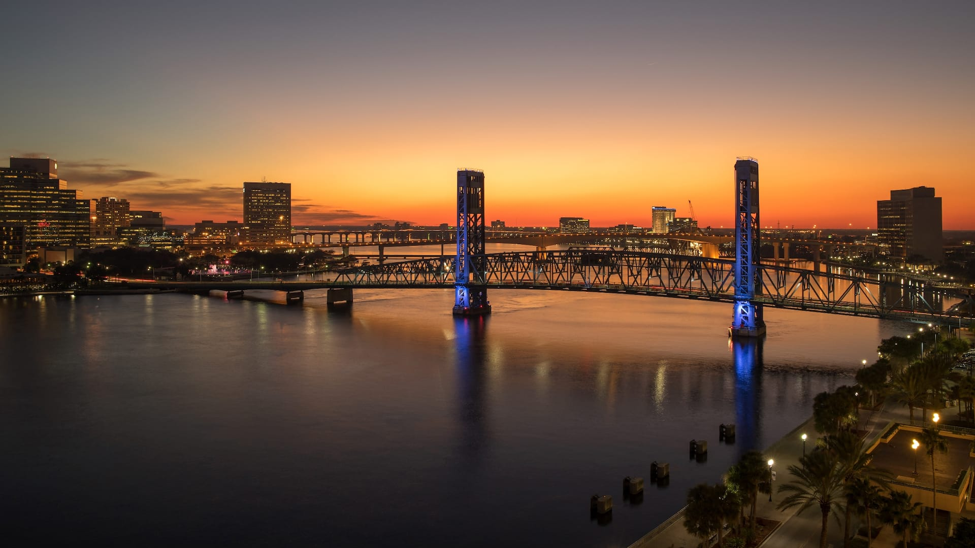 Sunset on the downtown Jacksonville riverfront