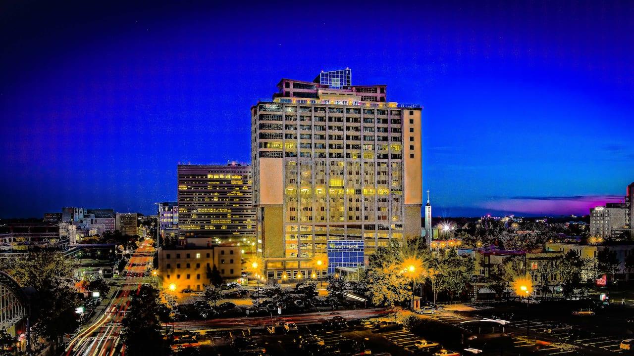 Exterior of hotel at night