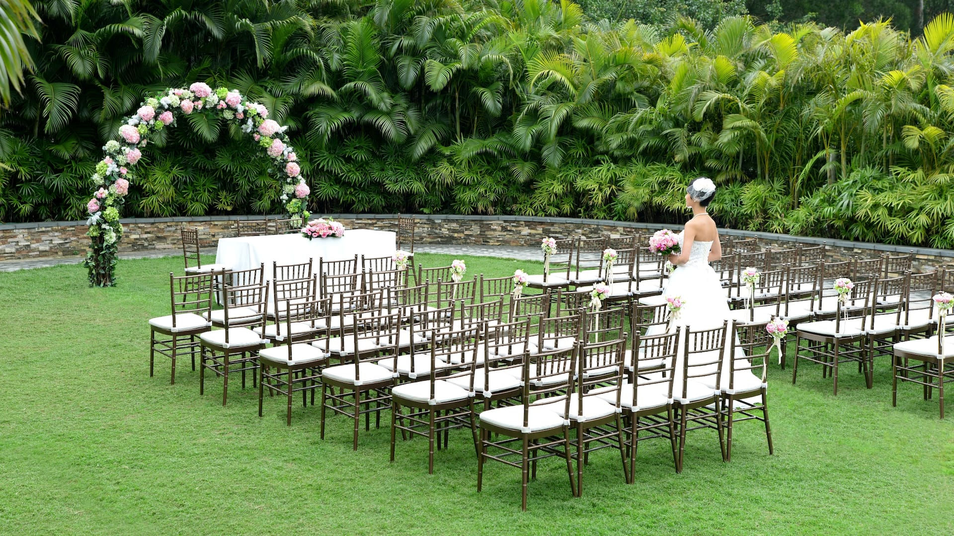 Garden Ceremony with Bronze Chairs