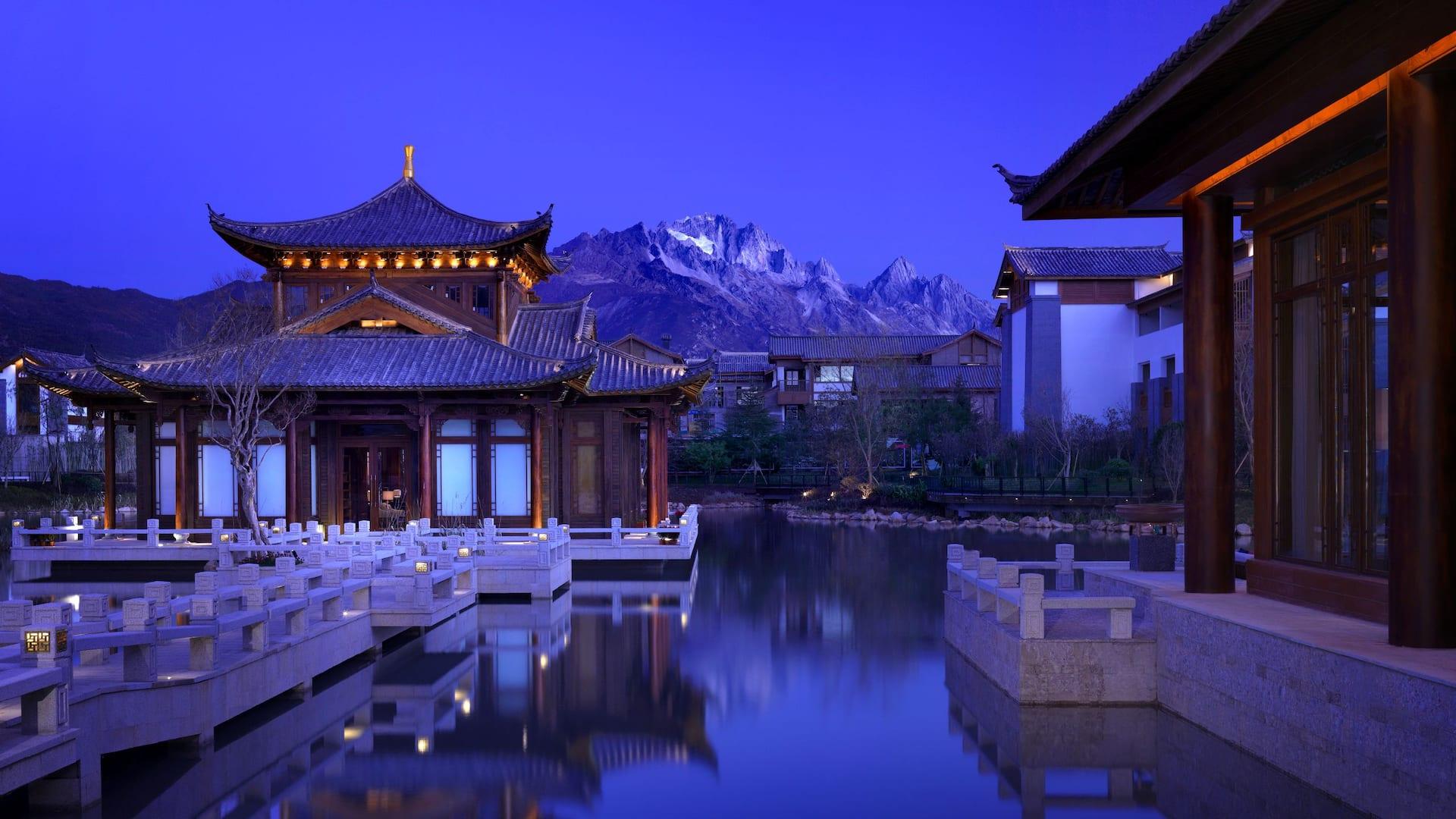Tea House with Snow Mountain View