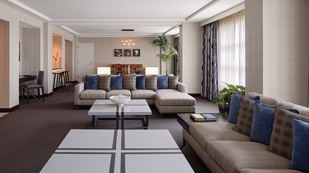 Sofas and tables in large hotel suite