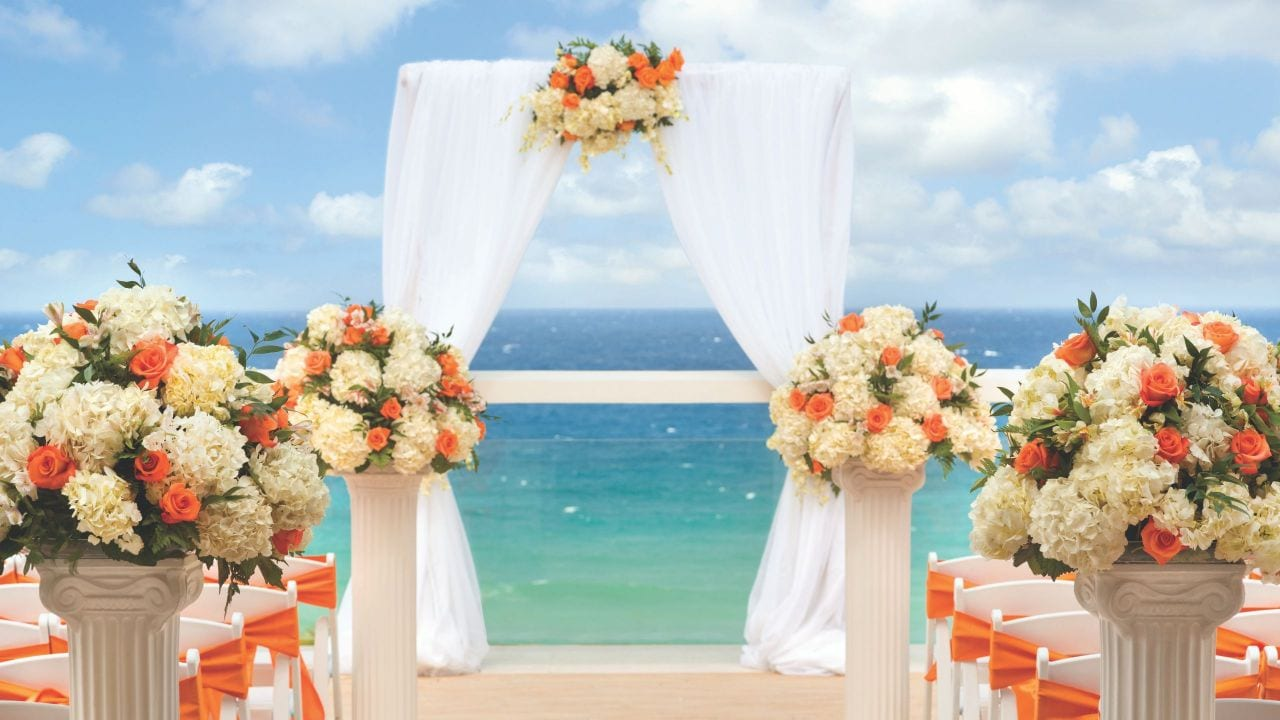 Wedding setup on resort beachfront
