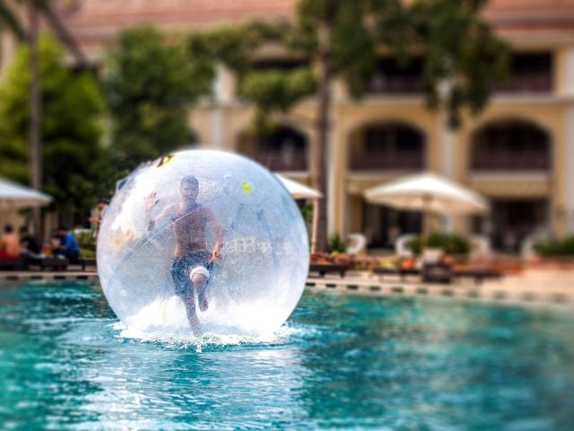 Aqua Zorbing in Outdoor Pool