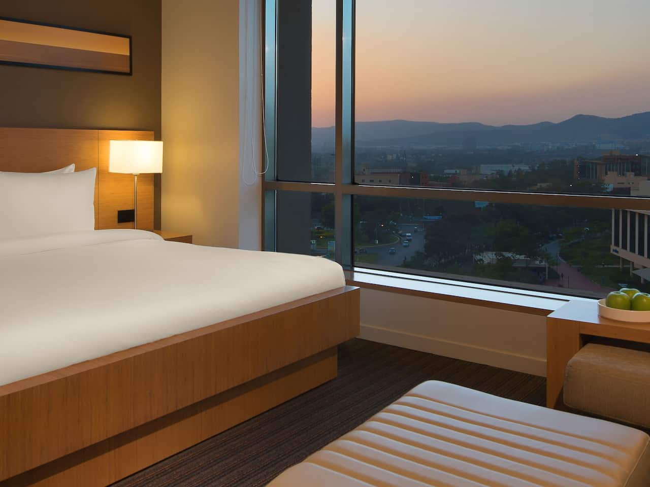 king bedroom with mountain view