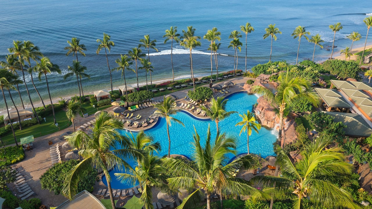 Aerial view of the pool at Hyatt Regency Maui Resort and Spa