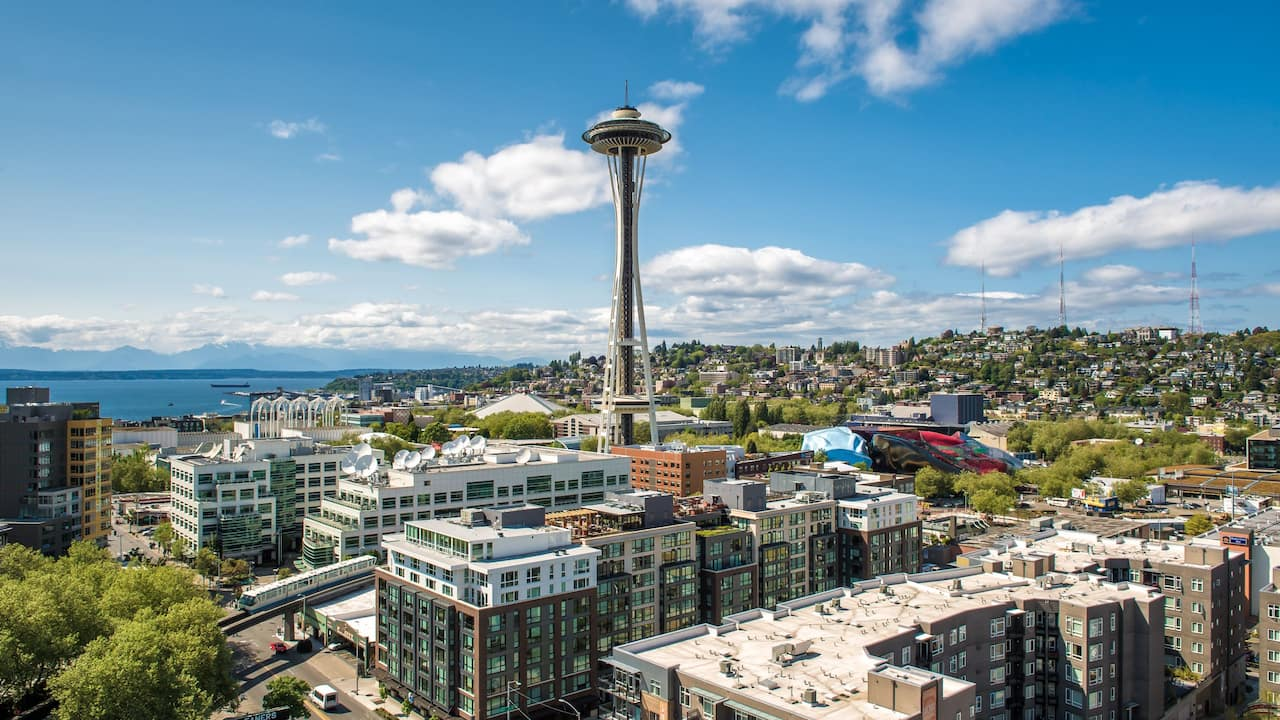 aerial view, including Space Needle observation tower