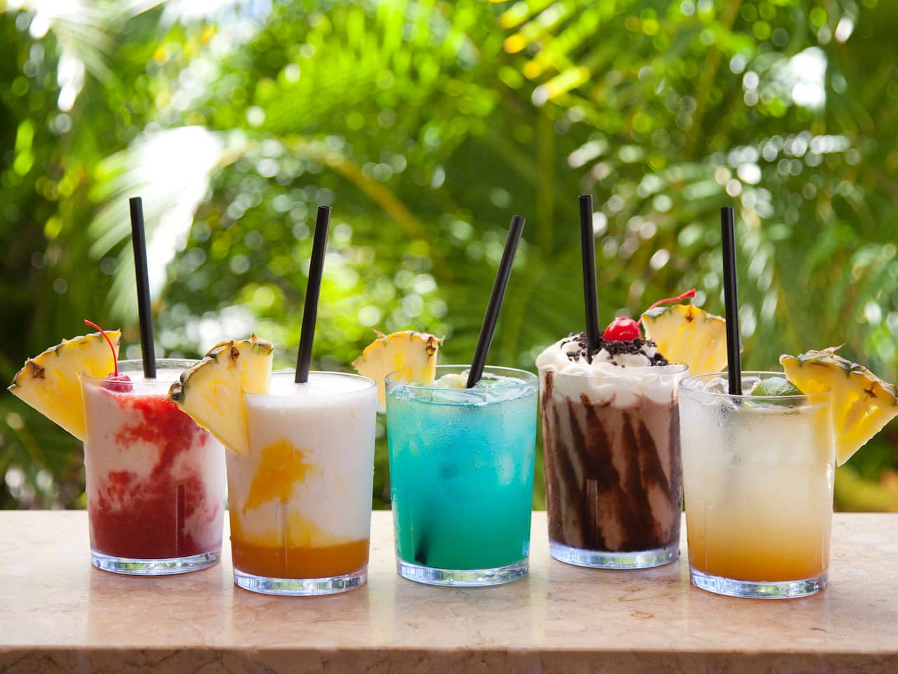 Assorted beverages being served at Hyatt Regency Maui Resort and Spa
